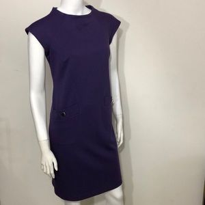 Purple shift dress cap sleeves with pockets size 6